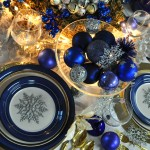 Beautiful table in blues, silver and gold