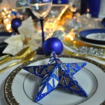 Blue and mirror table scape
