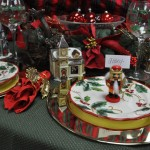 red and green tablescape alternate view