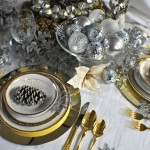 gold and silver holiday tablescape very elegant