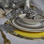 gold and silver holiday tablescape