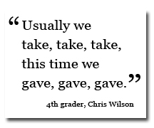 Chris Wilson quote from Pennypack donation drive