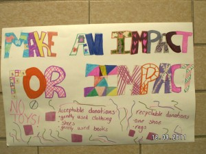 student made sign to advertise donation drive