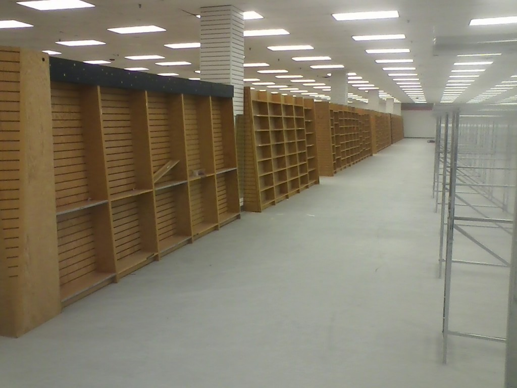Walls of book shelving
