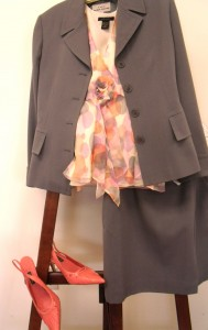 pastel dot top with winter grey suit