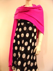 sleeveless polka dot dress with pink scarf-wrap