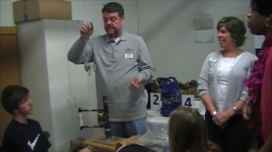 George Sturgis demonstrates creating jewelry with silverware