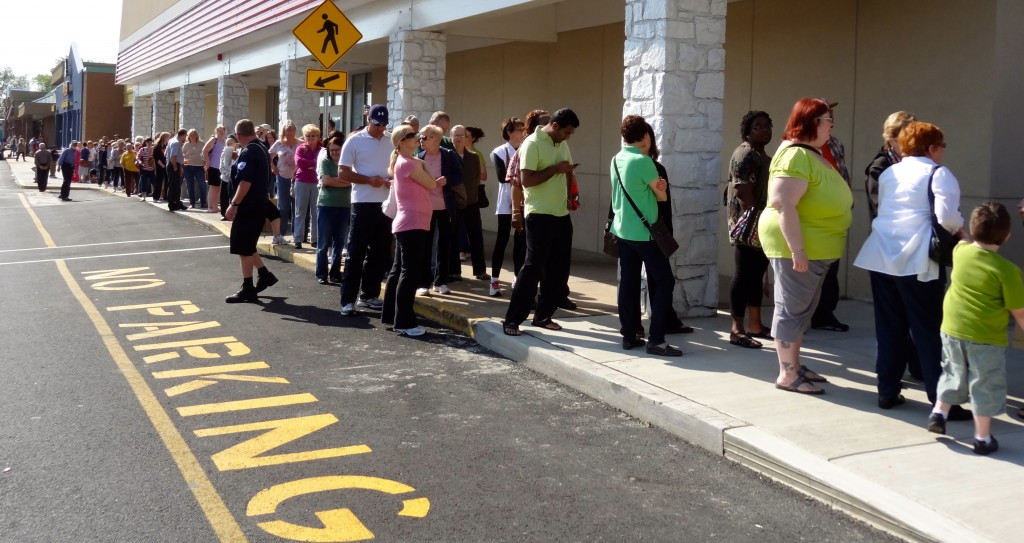 Line stretched past Staples on opening day of Impact Thrift Feasterville
