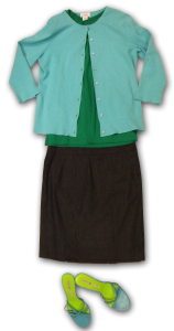 Teal and Kelly outfit with Navy skirt