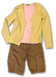celery sweater with pink top and olive green shorts