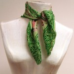 bright green scarf with some pink pop of color