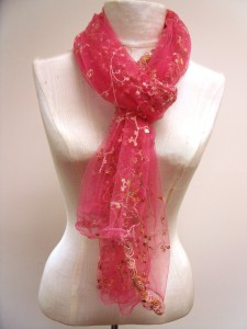fluffy pink scarf with sequins