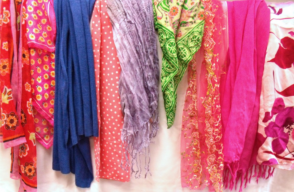 A variety of scarves add a pop of color