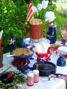 Patriotic tablescape incorporates a variety of items and styles