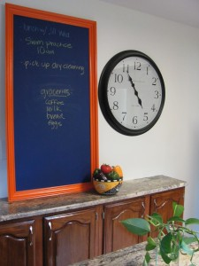 finished chalkboard project in my kitchen