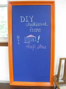 finished chalkboard  frame in our office