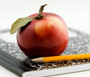 back to school image apple and composition book