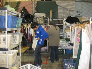 students from Christopher Dock assist in Impact Thrift Montgomeryville domestics processing department
