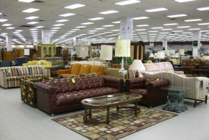 A view of Feasterville Impact Thrift Store from the front of the furniture department
