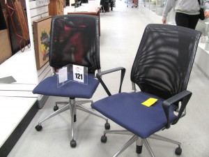 Two Meda Chairs, one with arms, one without on Silent Auction at Feasterville Impact Thrift Stores