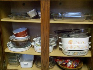 a semi organize kitchen cabinet