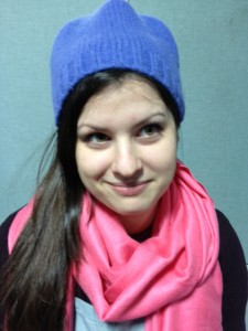 Abby Freeman models our completed blue felt hat created from a wool sweater