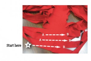 cutting guide - turn tshirt into continuous strand of knitting yarn