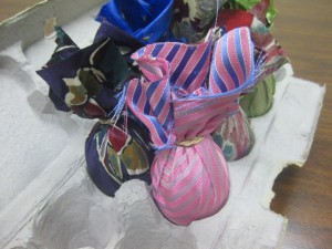 wrap your raw eggs in silk tie fabric to create Silk Tie Dyed Easter Eggs