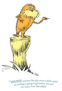The Lorax standing on his tree stump at Impact Thrift Stores