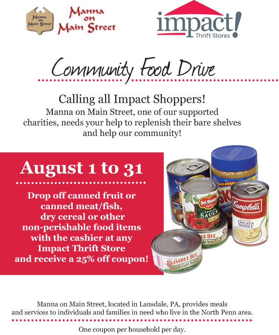 Manna on Main Street Mission Possible – Food Drive Flyer Samples