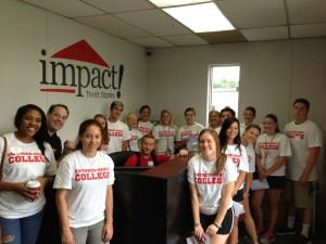 Volunteers from Gwynedd Mercy University at Impact Thrift Stores Donation Processing Center
