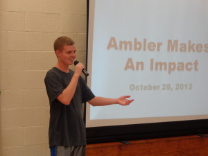 Justin Miles presents his Collection Drive project to his church and community of Ambler, PA