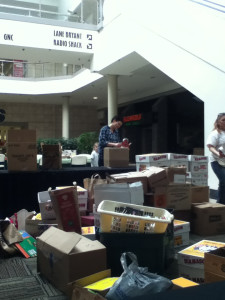 Organizing donations in the Sears courtyard