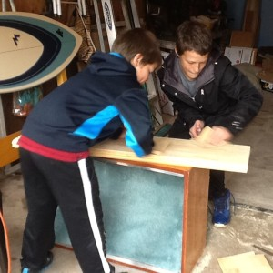 the boys sanded and sanded the bench top
