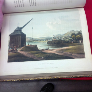 Hand colored folio illustration in A Picturesque Tour Along the Rhine from Metz to Cologne by Baron Johann Issac von Gerning which is currently part of the Silent Auction at Impact Thrift Store Hatboro