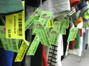 colorful clothing price tags will enable impact thrift stores to discount a different color tag each week or month