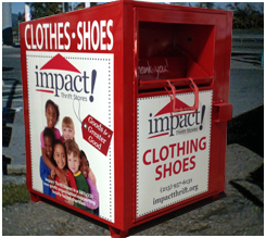 Impact Thrift Collection Bins are popping up all over the eastern Montgomery County PA area. A great place to drop off your clothing and shoe donation
