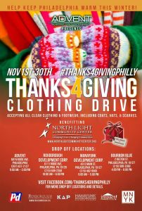 Thanks4GivingPhilly clothing drive sponsored by Advent to benefit North Light Community Center and Impact Thrift Stores