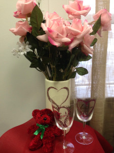 upcycle Valentine's Day vase and wine glasses in this free diy tutorial using items found at Impact Thrift Stores