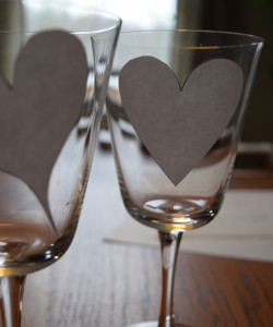 Heart templates adhere to clear glass in this diy upcycle valentine's day project free tutorial