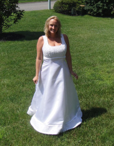 The beautiful bride models her dress purchased at Impact Thrift Store in Hatboro PA one week before the wedding