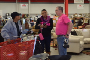 Montgomeryville Impact Thrift Store Manager, Rick Rogers and staff dress in pink in support of Breast Cancer Awareness month during our Impact Thrift Crawl