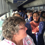Riding on the bus during the Impact Thrift Crawl from Impact thrift store Feasterville to Montgomeryville pa