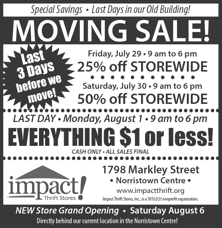 Impact Thrift Stores is moving their Norristown store to 1700 Markley Street, the building directly behind the current store in Norristown PA