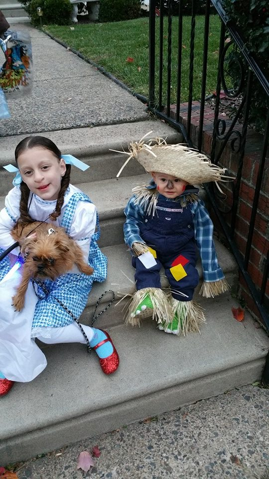 dorothy and toto halloween costume built from items found at impact thrift stores