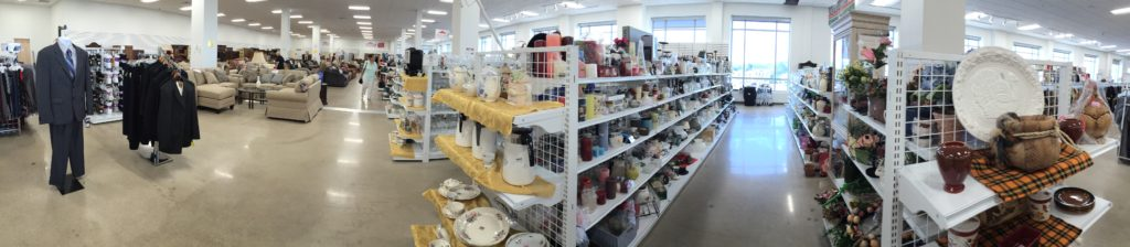 panoramic view of Impact Thrift Stores Norristown location on Markley Street at Johnson Highway in Norristown PA
